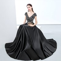 ffa06e31b7 2018 Top quality black evening dresses floor length major beading V neck  cape sleeves lace up corset plus size formal prom party gowns