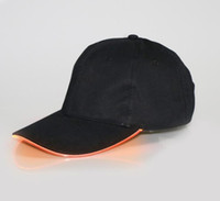 Wholesale Hat Cap Captain - New Arrive LED Light Hat Glow Hat Black Fabric For Adult Baseball Caps Luminous 7 Colors For Selection Adjustment Size Xmas Party
