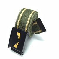 Wholesale wholesale canvas belt strapping - Leisure Adjustable Waist Belts Thicken Braided Men And Women Straps Eye Pattern Automatic Buckle Canvas Belt High Quality 5sk B