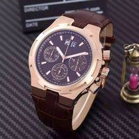 Wholesale rose wheels - Europe and America top luxury brand AAA men's rose gold watch multi-function movement Swiss series three-wheel design 42mm leather strap cla