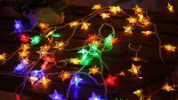 мигающие рождественские звезды оптовых-Светодиодные звезды огни строки батареи небольшие огни мигающие огни Новый Год Рождество Весенний фестиваль номер занавес украшения