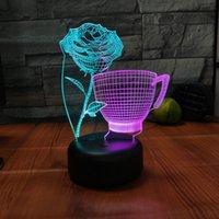 ingrosso aa tazze-Doppio colore Rose Cup 3D Night Light LED 7 colori che cambiano romantico USB Lampada da tavolo Acrilico Decorazione luce Dropshipping all'ingrosso