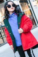 китайские куртки для девочек оптовых-Девичьи бархатные куртки, зимняя девчонка, китайское новое издание, издание Han, обе стороны носят толстую воздушную куртку