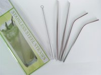 Wholesale straw cleaning brushes - Stainless Steel Straw Set 2 Straight Drinking Straws +2 Bent Stainless Steel Straws +1 Straw Cleaner Brush For Beer Fruit Juice Drink 20oz