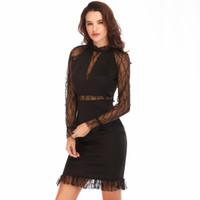 0498f28b7017 Vendita calda all ingrosso Womans vestiti 2018 nuovi arrivi manica lunga abiti  neri donne giovane signora cena vestito vestito partito