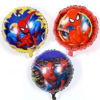 Wholesale Captains Coat - 50pcs lot 18inch super heros justice league balloon spiderman batman PJ MASKS balloons inflatable superman Captain aluminum Balloon