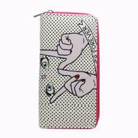 граффити длинные кошельки оптовых-M336 мультфильм кошелек для женщин палец глаз граффити искусственная кожа длинный кошелек студентов оптом