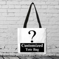maßgeschneiderte tasche baumwolle großhandel-fanximan Angepasste Muster Aufbewahrungsbeutel Baumwolle Leinen Tragetasche Wiederverwendbare Einkaufstasche Folding Organizer
