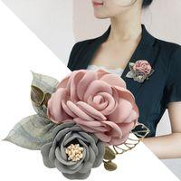 известный искусствовед ткани оптовых-Оптовая красивая ткань искусство ткань женщины цветок брошь Pin корейский известные дамы ручной работы палку булавки воротник рубашки пальто броши