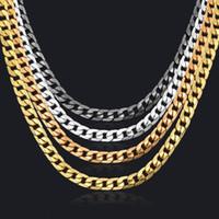 siyah kaldırım toptan satış-Küba Link Zinciri Kolye Gümüş / Altın Zincir Siyah Renk Curb Zinciri Erkekler Takı Için Corrente De Prata Masculina Toptan Miami mens kolye