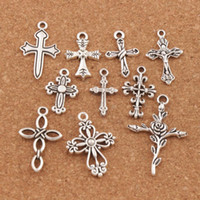 jóias cruzes pingentes venda por atacado-100 pçs / lote Bonito Projeto Da Flor Cruz Charme Beads 10 Estilos Mic Prata Tibetano Pingentes Jóias DIY Descobertas Componentes LM45