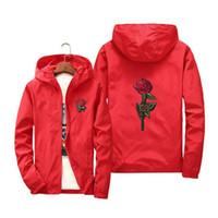 chaqueta de impresión rosa al por mayor-Otoño de las mujeres chaquetas casuales Europa estudiantes de EE. UU. Tendencia Unisex niñas rosa impresión bordado rojo azul con capucha rompevientos abrigos