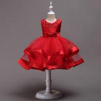 rote flauschige röcke großhandel-Schöne 2018 Baby Mädchen Kleider Perlen Juwel Hals flauschigen Rock Tee-Länge rot blau rosa Satin und Organza Kleinkind Vestidos De Fiesta