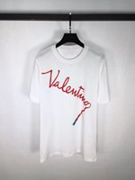 Wholesale Graffiti Shirt White - European and American popular logo18 spring and summer women's white short-sleeved T shirt red lipstick graffiti letters.