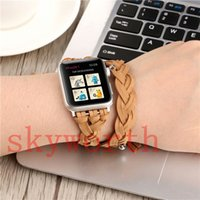 Wholesale knitted leather watch - For Apple Watch Fitbit Charge 2 Strap Bands Genuine Real Leather Straps Hand Made Braided Knitting Band 38 42mm Bracelets With Adapter