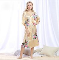 8548c0916a sexy silk robe long Canada - Silk Satin Wedding Bride Bridesmaid Robe  Floral Bathrobe Long Kimono