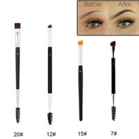 Wholesale 15 tool - Professional Duo Brush Dual Head Eye Brow Brush 12# 15# 7# 20# Double Eyebrow Enhancer Angled Eyebrow Brush + Comb Beauty Eye Makeup Tool