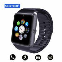 x1 destek toptan satış-Toptan apple iphone ios android telefon için x1 bluetooth smart watch bilek aşınma destek sync akıllı saat sim kart pk dz09 gv18