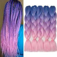 Wholesale purple ombre kanekalon braiding hair resale online - marley braid hair kanekalon Blue Purple Pink hair braids jumbo ombre synthetic braiding yaki straight braids hair extensions for box