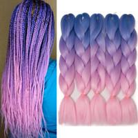 cheveux violet bleu rose achat en gros de-marley tresse cheveux kanekalon bleu violet rose tresses de cheveux jumbo ombre synthétique tressage yaki tresses droites extensions de cheveux pour la boîte