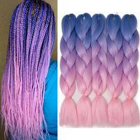 cabelo rosa ombre venda por atacado-Tranças de cabelo marley trança kanekalon Azul Roxo Rosa jumbo ombre tranças sintéticas yaki reta tranças extensões de cabelo para caixa