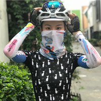 Wholesale Sleeves Mask Set Cool Ice Long Arm Sleeves Hood with Neck Cover Face Mask UV Protection for Cycling Driving Fishing Running Outdoor Sport