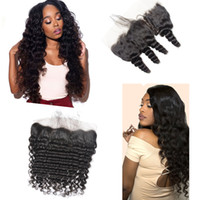 Wholesale dhgate indian remy hair for sale - Human Hair Brazilian Malaysian Peruvian Indian remy human hair X4 Lace Frontal Pre Plucked Baby Hair Deep Loose Wave Dhgate