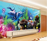 Wholesale Coral Heating - Custom 3D Undersea World Dolphin Coral Wall Mural For Kids Bedroom Wallpaper Childlike Cartoon Mural Seamless Wall Contact Paper