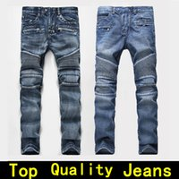 Wholesale cotton motorcycles - Mens jeans Men Designer jeans Distressed Motorcycle biker Rock Revival jeans size 42 Tight Skinny Ripped Straight Hip Hop Men's true pants