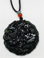 joyas de jade natural al por mayor-Natural chino negro verde jadeíta jade dragón colgante collar joyería regalo piedras preciosas por mayor