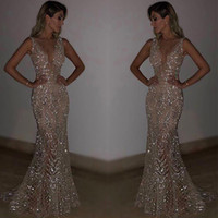 Wholesale stunning evening dresses sash for sale - Group buy 2019 Stunning Rose Pink Sequined Prom Dresses Sexy Spaghetti Straps Mermaid Sleeveless Evening Gowns party evening wear