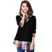 blouses top grande taille achat en gros de-Femmes Casual faux 2 pièces Blouses Manches longues à carreaux Patchwork Chemises Tops Big Size 3XL 4XL 5XL