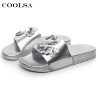 wholesale New Summer Women Bling Slippers Rhinestone Flowers Beach Sandals  Flamingo Flat Lady Slides Home Flip flops Casual Shoes 3f200db7bac1