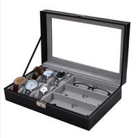 Wholesale window jewelry - Brand New PU Watch Boxes Jewelry Watch Glasses Display Box Glass Window Jewelry Accessories Storage Organizer Box Brithday Gifts