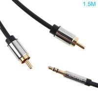 tabletas rca para al por mayor-DiGiSi macho de 3.5 mm a 2RCA Cable de adaptador de audio estéreo para hombres Chapado en oro para Smartphones / MP3 / Tablets / Home Theater PMP_11G