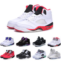 Wholesale Hot Boots For Men - Hot selling 5 Space Jam White Cement Gold for Men's basketball shoes leather sports boot Classic 5 V basketball sneaker