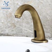ingrosso rubinetti d'epoca-Vintage Brass Auto rubinetto rubinetto a infrarossi rubinetto dell'acqua Handsfree rubinetto per bagno cucina bacino Sin vasca