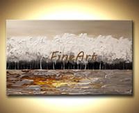 palettenmesser landschaft großhandel-100% handgemalte abstrakte große leinwand kunst baum ölgemälde landschaft palette messer schwere textur ölgemälde schöne kunstwerk gemälde a