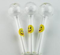 divertidas manos libres al por mayor-Logotipo de la sonrisa Pyrex Tubo de vidrio Quemador de aceite Tubo de la cuchara de vidrio Tubos de mano divertidos Tubos de fumar de vidrio Envío gratuito Herramienta de fumar