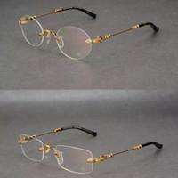 ingrosso occhiali da sole maschio-Nuovo cuore di corvo le sue montature senza montatura occhiali da vista uomini quadrati tondi tondi occhiali da vista maschili miopia montature da vista montature da vista