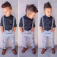 ingrosso tweed bambini abbigliamento-Moda Kids Sprig Autumn Boy Clothing Set Gentleman Style Abiti da festa per ragazzo Boy Modern Style Solid Blouse + Blue Pant Child 2 Pezzi Set