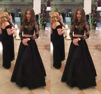 Wholesale two piece evening dress for sale - 2018 Sexy Black Two Pieces Evening Dresses Jewel Long Sleeve Lace Appliques Special Occasion Dresses Fashion Prom Dresses