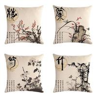 çin dekoratif yastık toptan satış-45 cm * 45 cm Çin Tarzı Keten Pamuk Yastık Kapakları Kanepe Yastık Kılıfı Bitki Erik Orkide Bambu Krizantem Minder Örtüsü Dekoratif Yastıklar