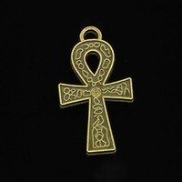 pendentes antigos egípcios venda por atacado-34 pcs liga de zinco encantos de bronze antigo ankh egyptian símbolo de vida encantos para fazer jóias diy pingentes artesanais 38 * 21mm