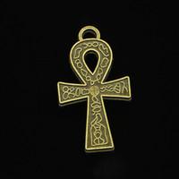 анх ювелирные символ оптовых-Цинковый сплав подвески античная бронза покрытием египетский АНК символ жизни подвески для изготовления ювелирных изделий DIY ручной подвески 38*21 мм