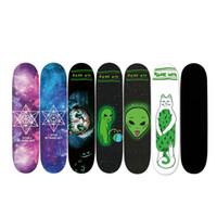Wholesale wholesale skateboard decks - New 1pcs 85x24cm Skateboard Sandpaper Sticker Perforated Skateboard Deck Grip Tape Double Rocker Deck Sandpaper