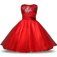 Wholesale ceremony clothing online - Teen Girl Clothes Christmas Tutu Flower Kids Dresses For Girls Wedding Baby Girls Kids Ceremonies Party Costumes age Years Y1891309