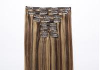 grampo de extensão de cabelo loiro ins venda por atacado-Clipe Direto Loiro Mix Brown em Extensões de Cabelo Humano Cabelo # P4 / 27 Cabelo Fino Full Head Clip em Macio Clipe Colorido Confortável ins