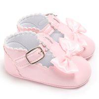 chaussons bébé nouveau-né achat en gros de-Bébé filles en bas âge nouveau-né vêtements occasionnels chaussures enfants doux arc pantoufles fête de mariage smart chaussures mocassins 0-18 mois