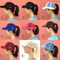 kap hawaii toptan satış-Moda kadın tenis kapaklar 14 renkler at kuyruğu kap Dağınık Bun Pony cap Glitter Mesh Beyzbol şapkaları